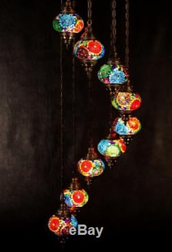 Turkish Authentic 9 Globe Mosaic Chandelier Lamp Moroccan Lantern Stained Glass