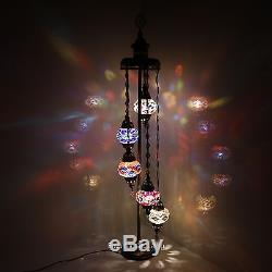 Turkish Moroccan Style Mosaic Multicolour Floor Lamp Light 5 Medium Globe