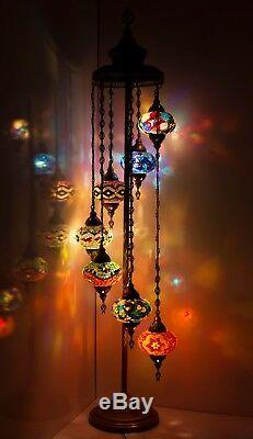 Turkish Moroccan Style Mosaic Multicolour Floor Lamp Light 7 Large Globe