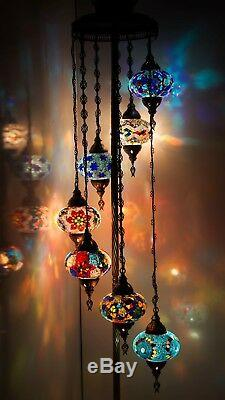 Multicolour Turkish Mosaic Hanging Lamp Light Hand Craft 6 Medium 1 Large Globe