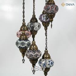 Turkish Moroccan Style Multicoloured Mosaic Hanging Lamp Light 7 Medium Globe
