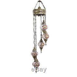 Turkish Morrocan Hand Made Multicolour Mosaic Hanging Lamp Light 5 Medium Globe