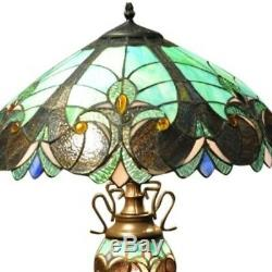 Turquoise Blue Double Tiffany Lamp 68cm Stained Glass Table Light