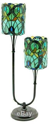 Twin Stem Tiffany 72cm Stained Glass Table Lamp 16