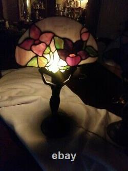 Two Art Deco Nude Lady Lamps with Multi Colour Stained Glass Fan Shade