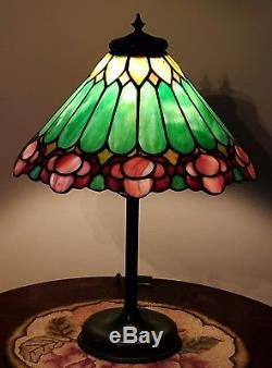 Unique Arts & Crafts Leaded Slag Stained Glass Table Lamp Handel Tiffany Era