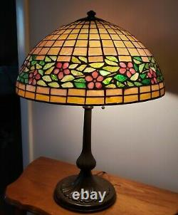 Unusual Handel / Unique Periwinkle Arts & Crafts Leaded Stained Glass Lamp