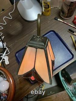 VTG Tiffany Style Stained Glass Curved Gooseneck Desk Table Lamp Metal Base 15