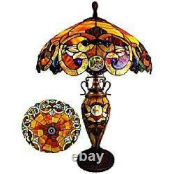 Victorian Stained Glass Table Lamp Tiffany Style 18in Double Lit