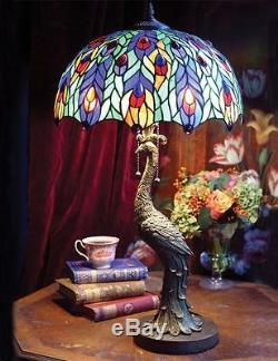 Victorian Tiffany Stained Glass Jeweled Peacock Table Lamp Light Base 28H