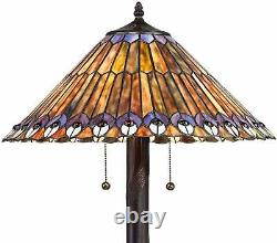 Victorian Tiffany Style Antiques Stained Glass Peacock Accent Lamp Shade Table