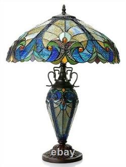Victorian Tiffany Style Stained Glass Table Desk Lamp 18 Shade 25 Tall