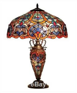 Victorian Tiffany Style Table Lamp Stained Glass Lighted Base 18 Shade 25 Tall