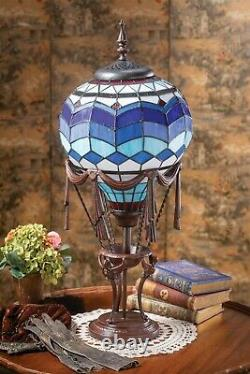 Victorian Trading Co Hot Air Balloon Tiffany Style Stained Glass Table Lamp