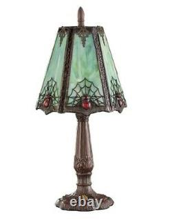 Victorian Trading Co New Arachne's Aura Gothic Spider Green Stained Glass Lamp