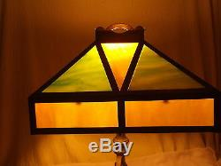 Vintage/Antique Stained/Slag Glass Table Lamp 1930's/1940's Green/White/Caramel
