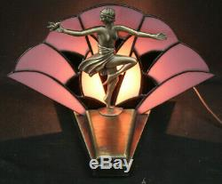 Vintage Art Deco Flapper Girl Lamp Light withStained Glass Loevsky WMC 9919 Works
