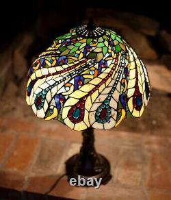 Vintage Artist Creation Tiffany Style Stained Glass Table Lamp Hand Made 24Hx17W