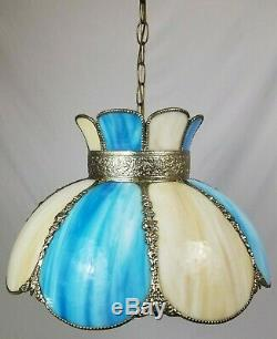 Vintage Blue Slag Stained Glass Hanging Swag Ceiling Lamp Light 8 Panel