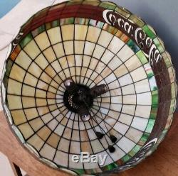 Vintage COCA-COLA Tiffany Stained Glass Hanging Lamp Light DRINK COCA COLA Exct