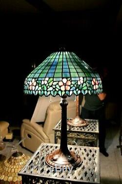 Vintage Large Tiffany Style Art Stained Glass Lamp Flowers Metal Base
