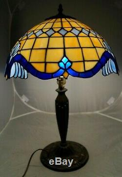 Vintage Leaded Stained Art Glass Shade Electric Table Lamp