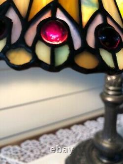 Vintage Meyda Tiffany Stained Glass Desk Lamp Jeweled Peacock, Multicolor