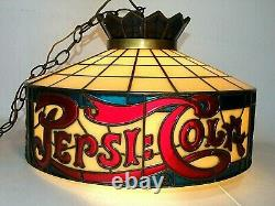 Vintage PEPSICOLA Tiffany Stained Glass Style 18 Plastic Hanging Lamp Light