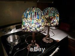 Vintage Pair 22 Tiffany Style Lamp Stained Glass Roses Motive Heavy Base