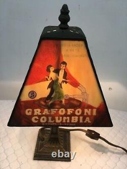 Vintage Rare Grafofoni Columbia Stained Glass Table Lamp