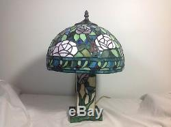 Vintage Signed DALE TIFFANY Stained Glass Table, Boudoir, 3-way lamp Parts