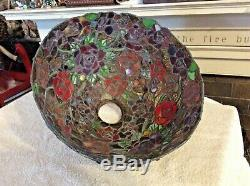 Vintage Stained Glass 13 Shade Jewels Roses Tiffany Style Pendant Fixture Lamp