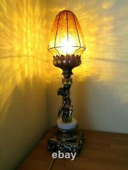 Vintage Stained Glass Cherub Lamp Marble Crystal Crackled Bubble Glass Parlor