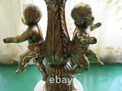 Vintage Stained Glass Marble Hollywood Regency Double Cherub Lamp Large