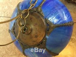 Vintage Stained Slag Glass Swirl Hanging Lamp Blue Shade Complete Original