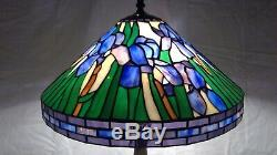 Vintage Tiffany-Style 16D Iris Stained Glass Shade on Detailed Metal Base Lamp