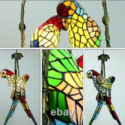 Vintage Tiffany Style Ceiling Light Stained Glass Parrot 2 Bird Shade Chandelier