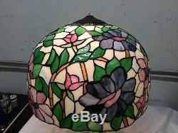Vintage Tiffany Style Floral dome Pattern Stained Glass Large 24 w Lamp Shade