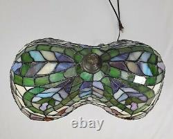 Vintage Tiffany Style Lamp Stained Glass Tulip Design Jeweled Art Nouveau 21