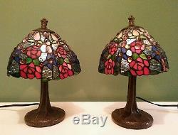 Vintage Tiffany Style Stained Glass Accent Lamp Pair