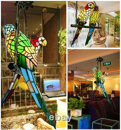 Vintage Tiffany Style Stained Glass Parrot 2 Bird Shade Chandelier Pendant lamp