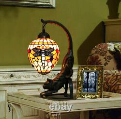 Vintage Tiffany Style Stained Glass Red Dragonfly Cat Table Lamp Desk Light Gift