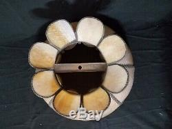 Vintage Tiffany Style Stained Slag Glass Lamp Shade Scalloped Edge Caramel