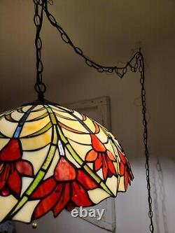 Vintage Tiffany Swag Light Hanging Pendant Stained Glass Flowers Lamp Plug-In