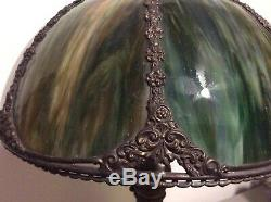 Vintage Victorian Tiffany Style Green Caramel Slag Stained Glass Lamp Shade 14