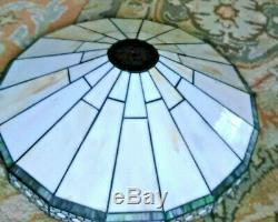 Vintage art deco stained glass large lamp shade makers mark gorgeous