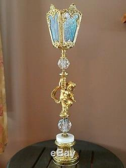 Vtg Stained Glass Cherub Crystal Ball Table Parlor Lamp Light