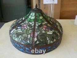 Vtg Stained Glass Lamp Shade Floral Victorian Tiffany Style 18 Large #122