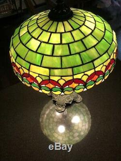 Wilkinson 1912 Era Tiffany Style Stained Glass Lamp Amazing Condition