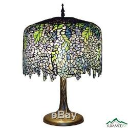 Wisteria Table Lamp Tiffany Style Stained Glass Bronze Tree Trunk Base Decor New